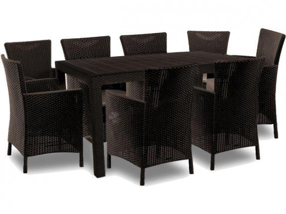 Meble ogrodowe z wysokim stołem dla 8 osób Melody 8Y brązowy