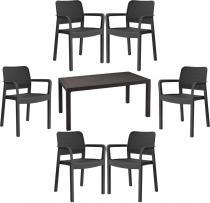 Meble obiadowe sześcioosobowe z dużym stołem Melody 6S grafitowy