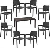 Komplet ogrodowy 8 krzeseł Samanna i duży stół Melody 8S grafitowy
