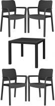 Zestaw mebli czteroosobowy Melody Quartet 4S z krzesłami Samanna Grafitowy