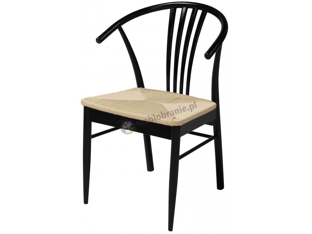 Interstil York czarne krzesło z plecionym siedziskiem