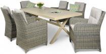 Zestaw ogrodowy technorattan Cordoba Grey Stół 200 cm (aluminium) i 6 foteli