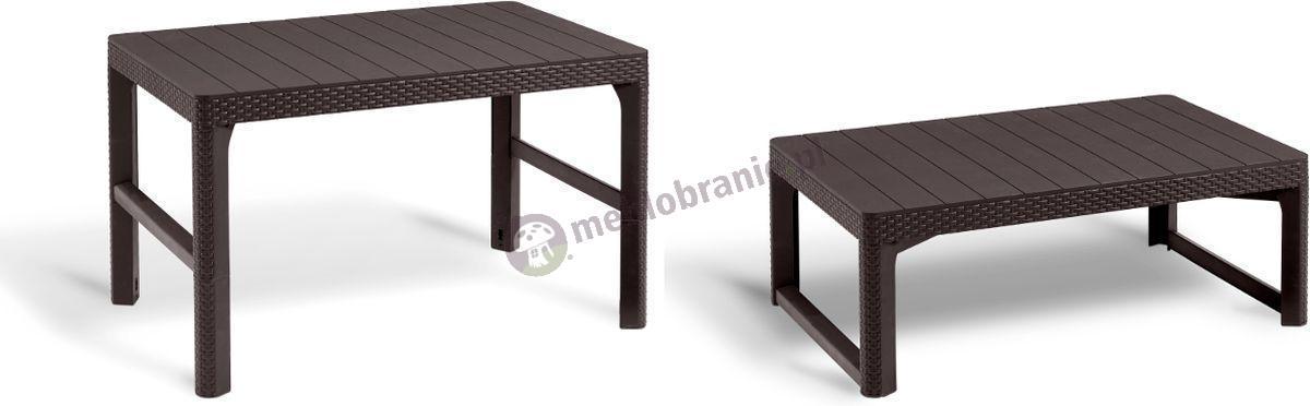 Stół ogrodowy Curver Lyon podnoszony stolik kawowy brązowy
