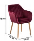 Actona Emilia krzesło tapicerowane welurowe bordowe