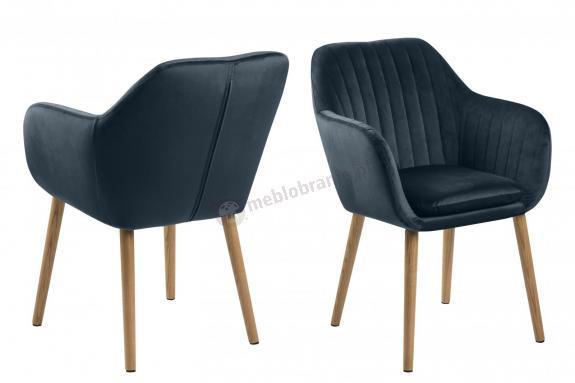 Actona Emilia krzesło tapicerowane granatowy welur