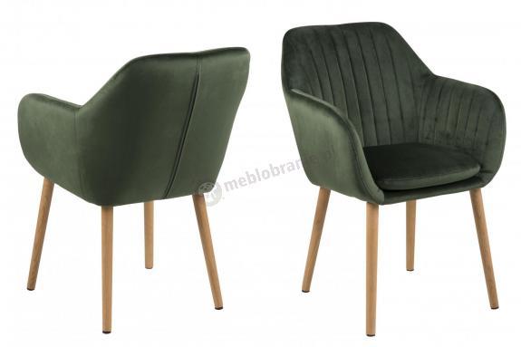 Actona Emilia krzesło kubełkowe ciemnozielony welur
