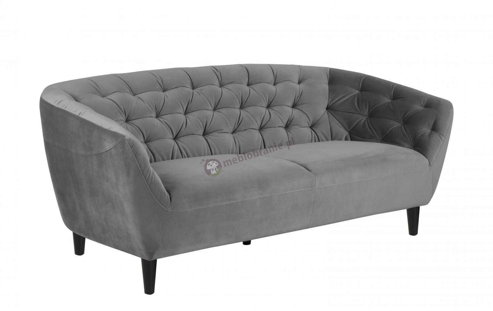 Actona Ria trzyosobowa sofa tapicerowana szarym welurem