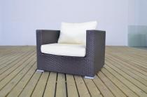 Fotel z technorattanu ciemno-brązowy z poduszką