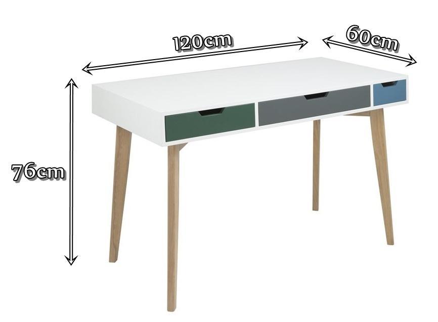 Actona Tess biurko z szufladami białe - wymiary