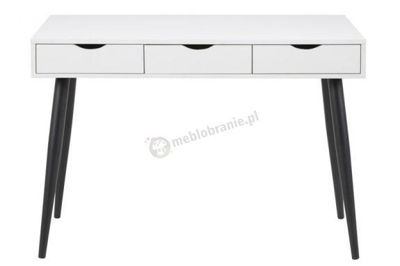 Actona Neptun białe biurko z czarnymi nogami w stylu skandynawskim