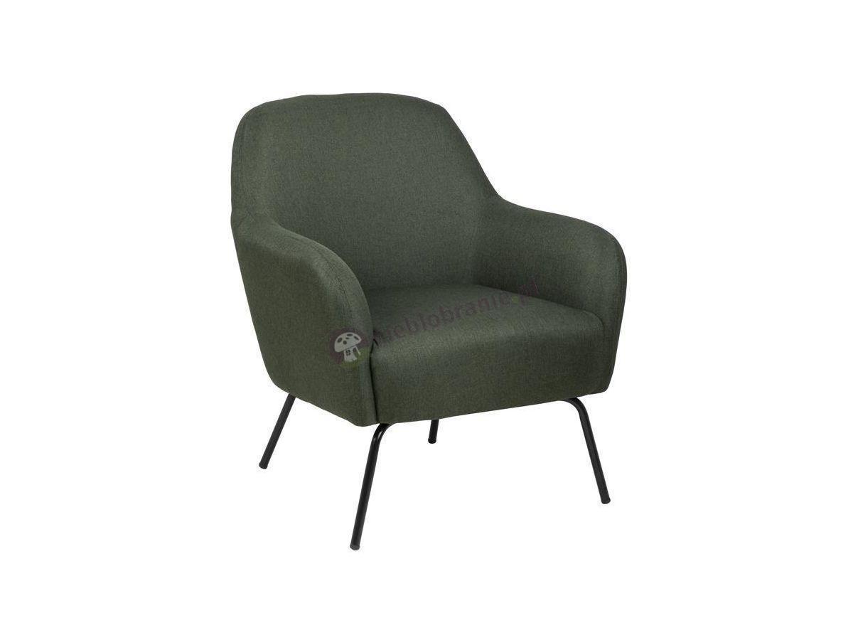 Actona Melanie ciemnozielony fotel na metalowych nóżkach