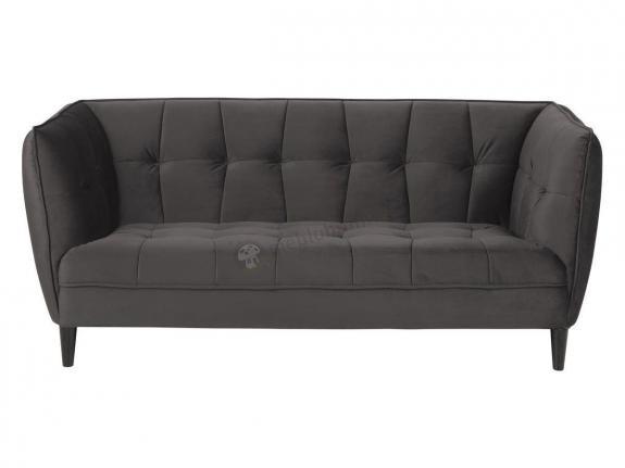 Actona Jonna aksamitna pikowana sofa ciemnoszara