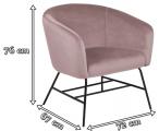 Actona Ramsey fotel z aksamitu na metalowej podstawie róż