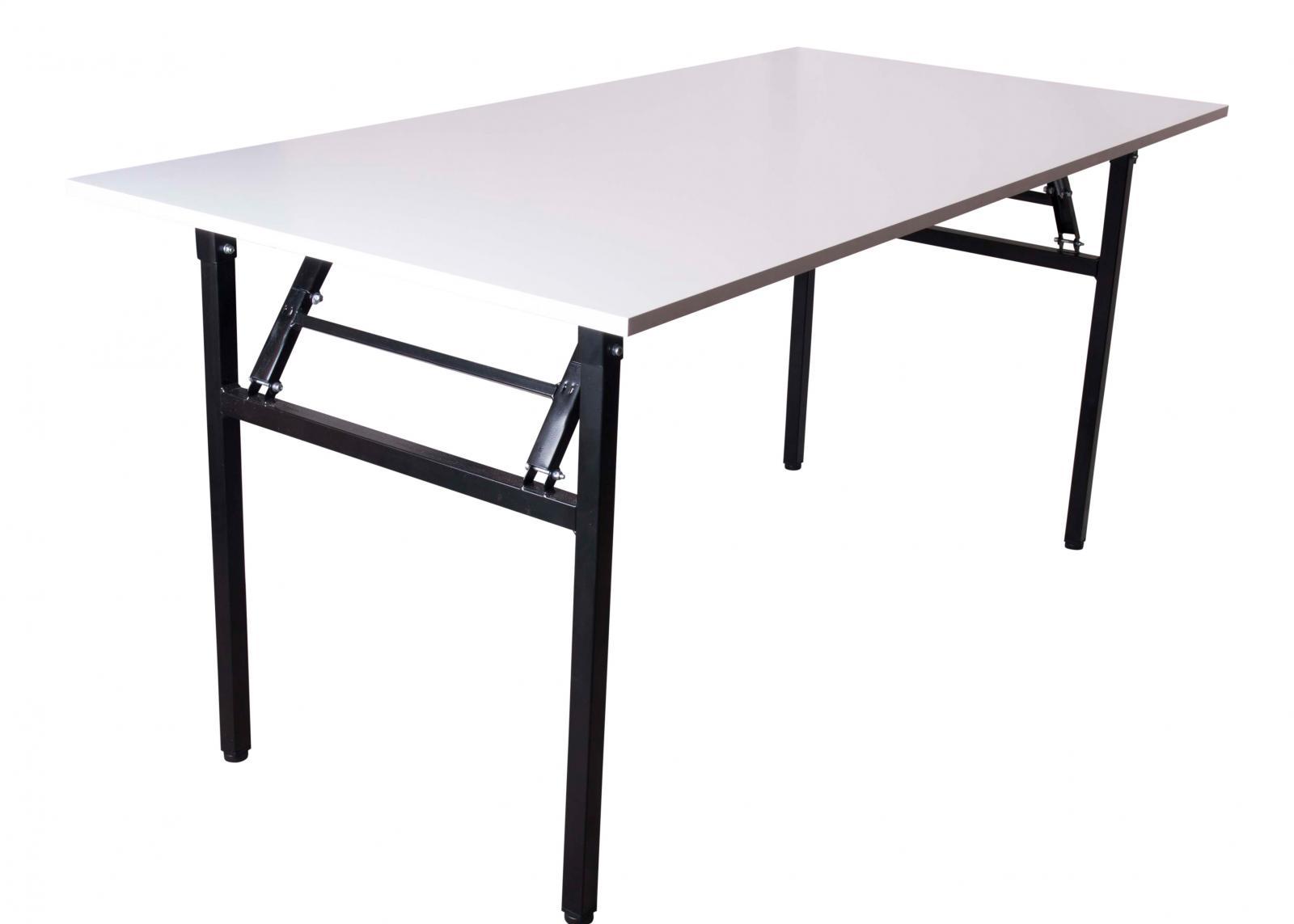 Składany Stół 160x80cm Biały Blat Czarny Stelaż