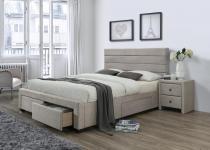 Tapicerowane łóżko z zagłówkiem 160cm Kayleon beż