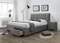 Szare łóżko z tapicerowanym zagłówkiem Percy 160cm Halmar