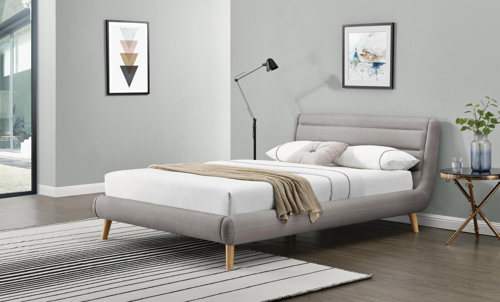 Tapicerowane łóżko Elanda 140cm jasny popiel