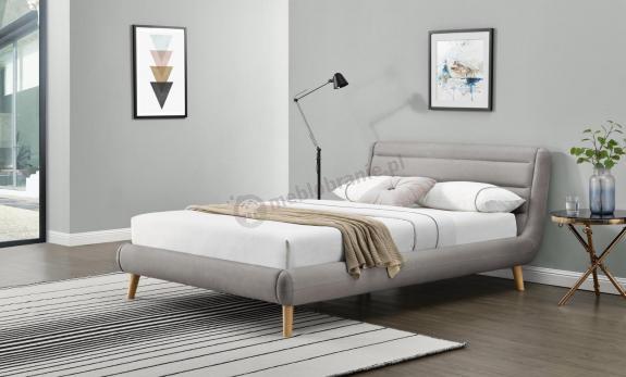 Łóżko tapicerowane z zagłówkiem Elanda 140cm jasny popiel