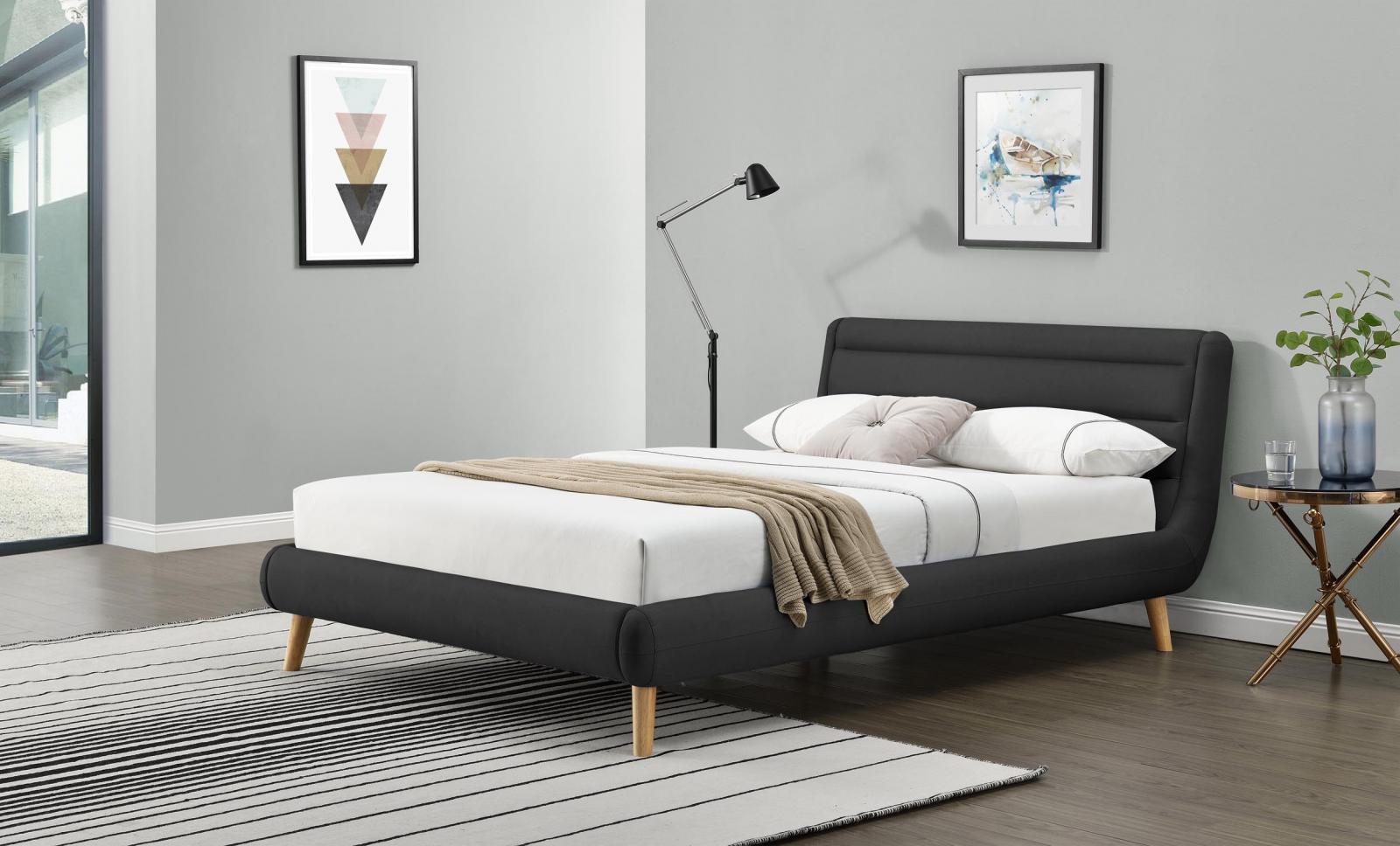 Tapicerowane łóżko Elanda 140cm ciemny popiel