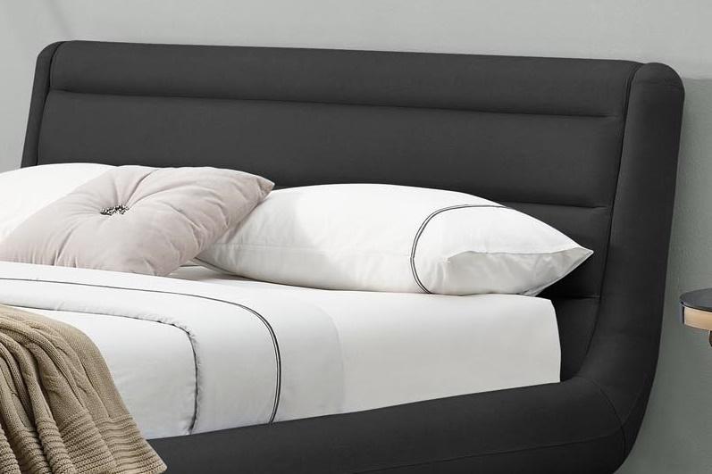 Grafitowy, tapicerowany zagłówek łóżka