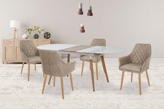 Owalny rozkładany biały stół Caliber aranżacja