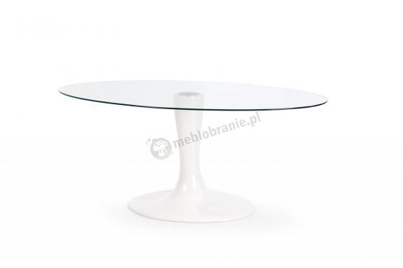 Owalny stół na nodze ze szklanym blatem Coral Halmar