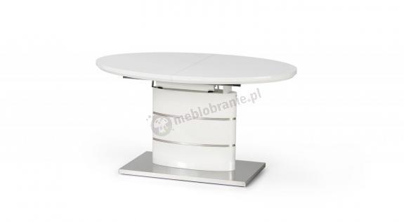 Owalny biały rozkładany stół 140-180cm Aspen Halmar