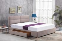 Tapicerowane beżowe łóżko Merida 160cm Halmar