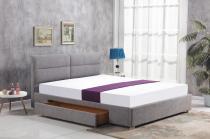 Tapicerowane łóżko z pojemnikiem Merida 160cm jasny popiel