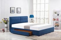 Tapicerowane łóżko z szufladą Merida 160cm niebieski