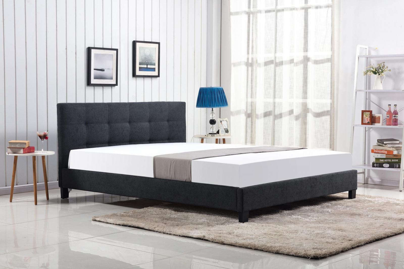 Tapicerowane łóżko Oxford 160cm w kolorze ciemny popiel