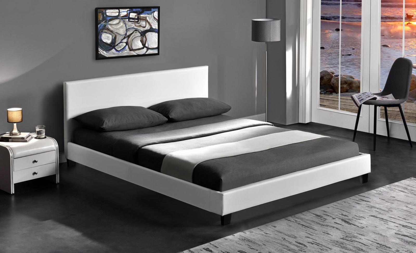 łóżko Tapicerowane Białe Pago 160cm Halmar