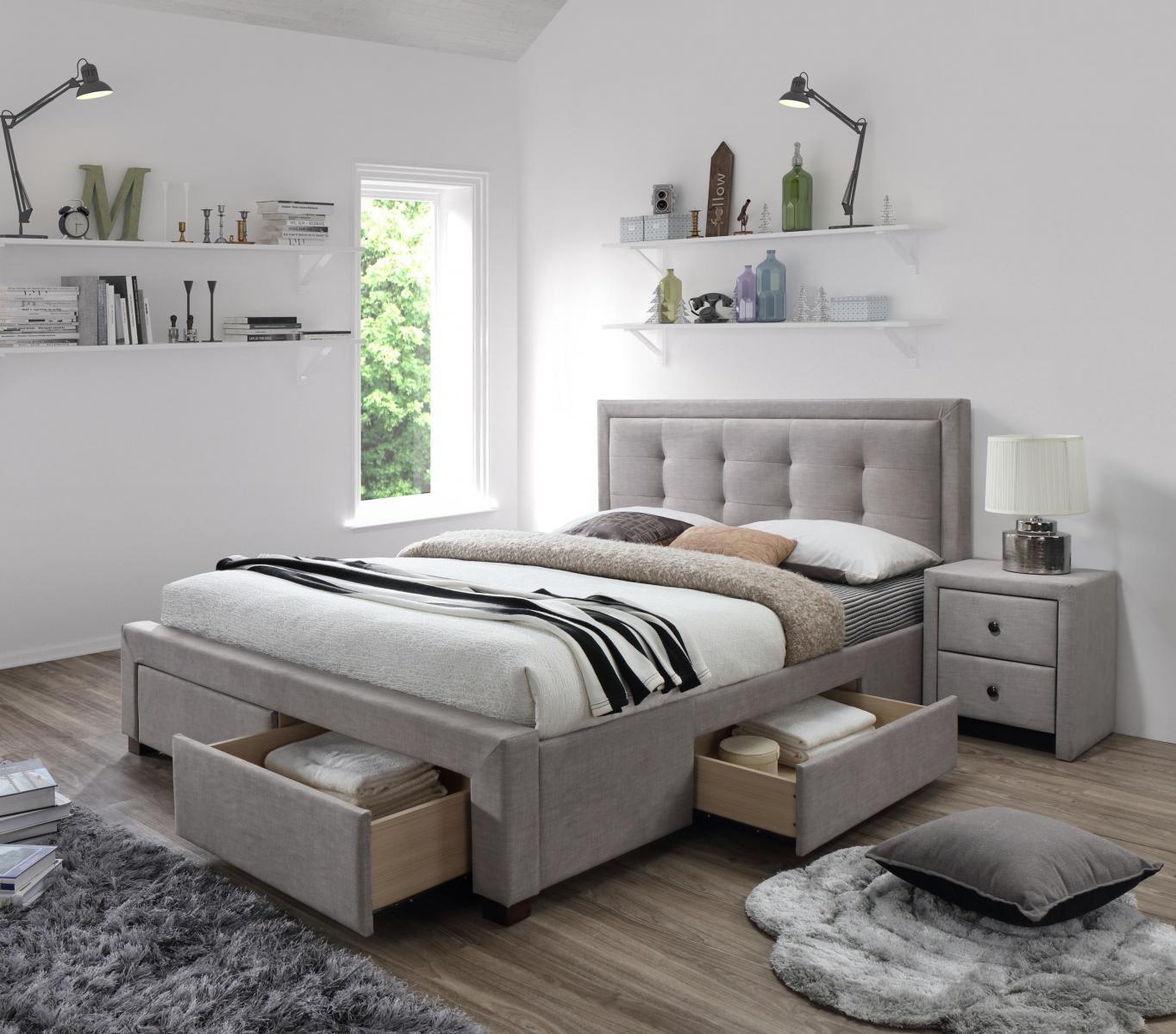 Tapicerowane łóżko z zagłówkiem Evora