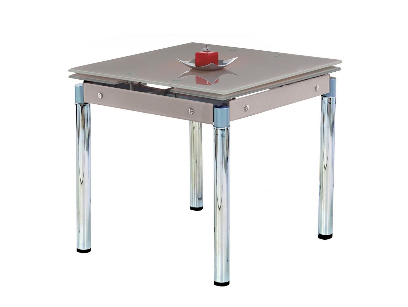 Szklany Stół Na Chromowanej Podstawie 80 130cm Kent Halmar Beż