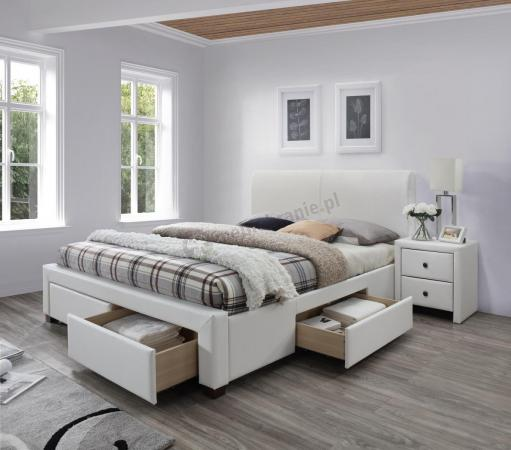 Białe łóżko Do Sypialni Z Szufladami Modena 2 Halmar