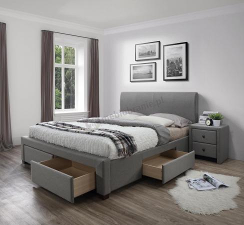 łóżko Tapicerowane Do Sypialni Szare Modena 140cm