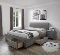 Łóżko tapicerowane ze schowkami szare Modena 160cm