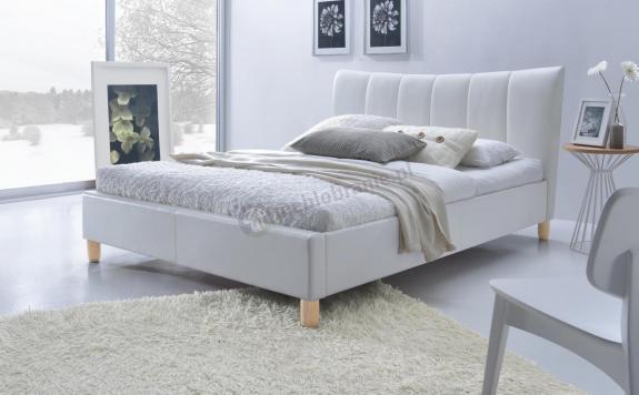 Łóżko do sypialni tapicerowane Sandy biały