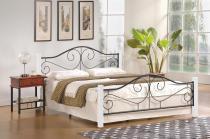 Ozdobne łóżko z metalowym zagłówkiem Violetta 160cm biały