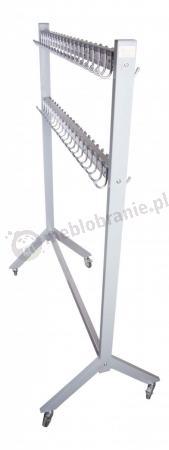Wieszak metalowy stojący szatniowy na 100 haczyków Srebrny 150 cm