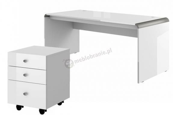 Podwójne biurko Murano 180 biały połysk + kontener
