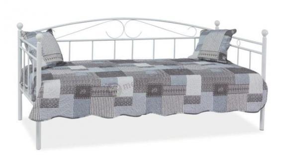 Metalowe łóżko jednoosobowe Ankara białe