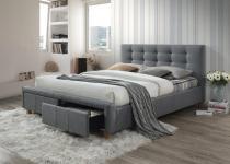 Szare łóżko tapicerowane z szufladami Ascot Signal