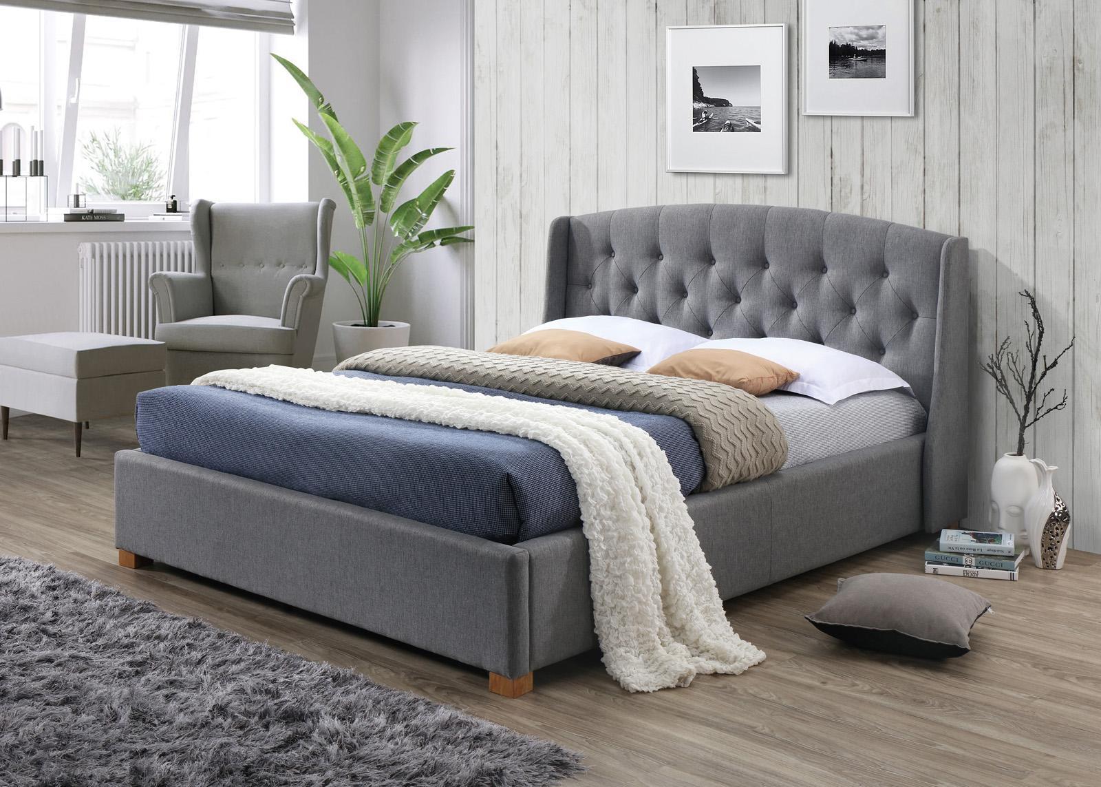 Tapicerowane łóżko z pojemnikiem Hampton