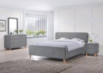 Szare tapicerowane łóżko 140x200 Malmo Signal