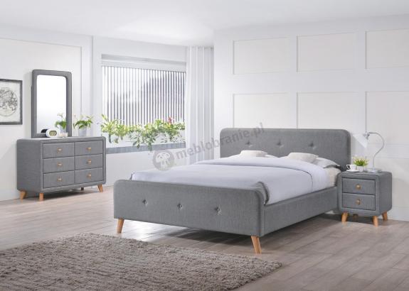Szare tapicerowane łóżko 160x200 Malmo Signal