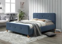 Tapicerowane łóżko 140x200 niebieskie Malmo Signal