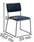 Actona Cornelia ciemnoniebieskie krzesło tapicerowane welurem