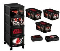 Curver Disney Star Wars - Zestaw 6 w 1- Regał, 3 pudełka, 2 pojemniki