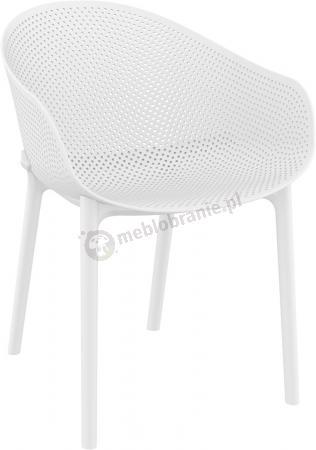 Ażurowe krzesło z podłokietnikami Sky White